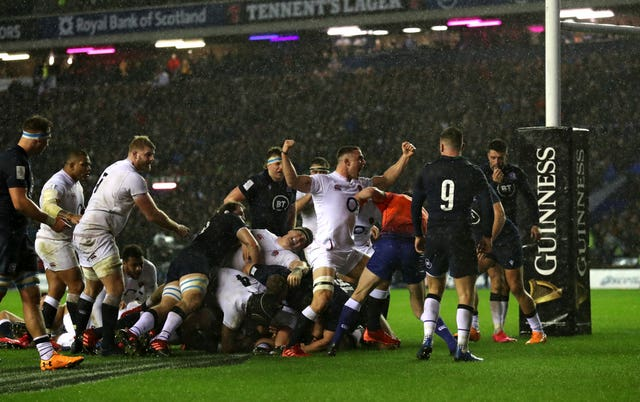 Ellis Genge scores the only try as England defied the treacherous conditions brought to Murrayfield by Storm Ciara to edge Scotland 13-6