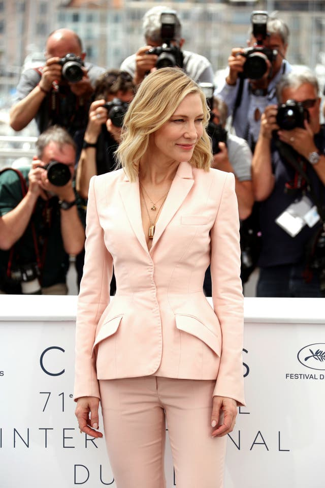 Jury president Cate Blanchett poses for photographers during a photo call for the jury at the 71st international film festival, Cannes (Joel C Ryan/Invision/AP)