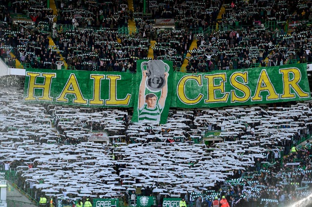 The Celtic support pay their respects to Billy McNeill