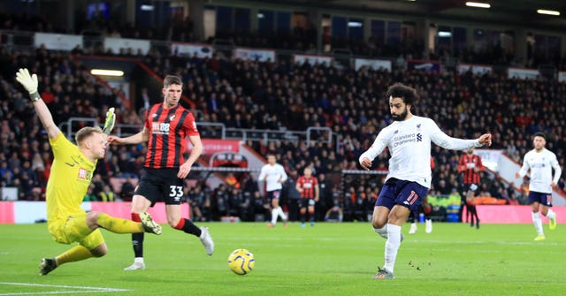 Mohamed Salah found the target as Liverpool won 3-0 at Bournemouth to maintain their lead in the Premier League title race