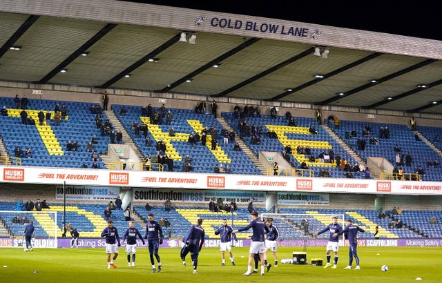 Millwall fans applauded both sets of players in their stance against racism prior to kick off at The Den