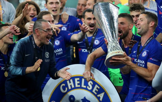 Sarri led Chelsea to Europa League glory