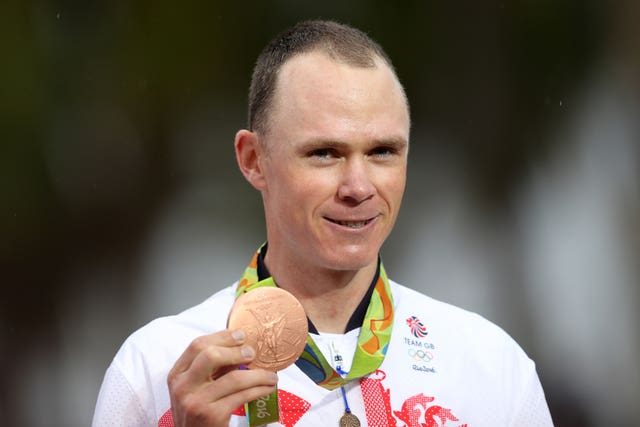Great Britain's Froome with his bronze medal from the men's road cyling individual time trials at the Rio Olympic Games