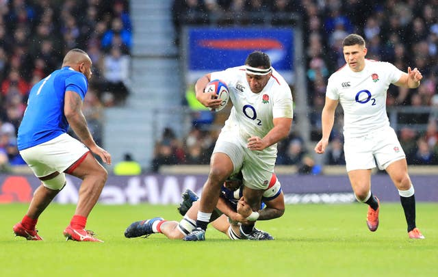 Mako Vunipola, centre, will not play any further part in the Six Nations
