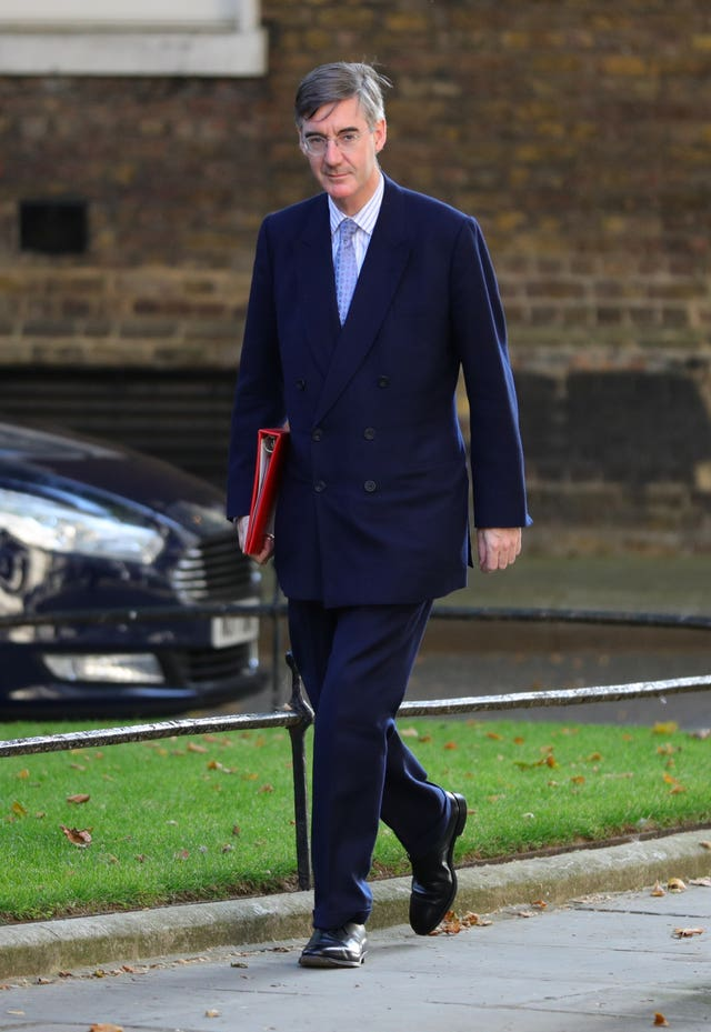 Jacob Rees-Mogg arrives for the first Cabinet meeting