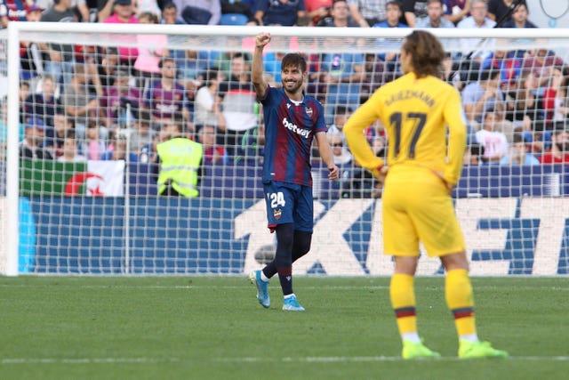 Jose Campana scored Levante's equaliser against Barcelona