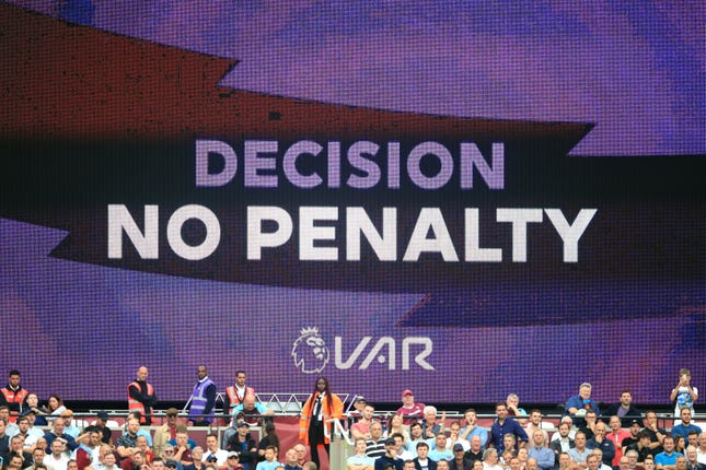 A VAR decision is displayed after West Ham appealed for a penalty during their home defeat to Manchester City