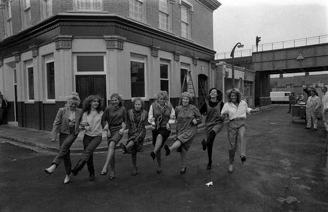 Sandy Ratcliff, second from the right, with other original cast members at Elstree Studios in 1984