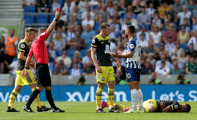 Brighton's Florin Andone, second right, is sent off against Southampton