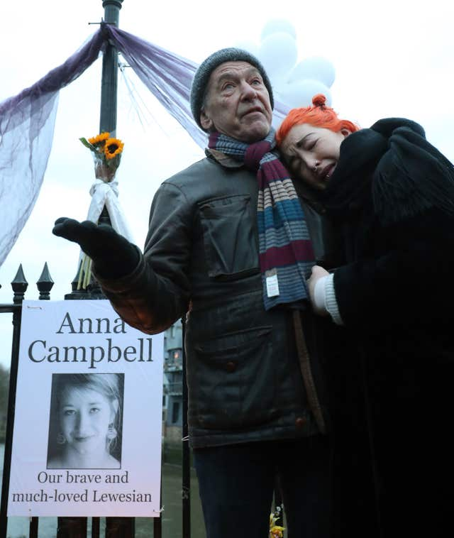 Dirk and Rose Campbell, father and sister of Anna Campbell speak at a vigil in her home town of Lewes, East Sussex (Gareth Fuller/PA)