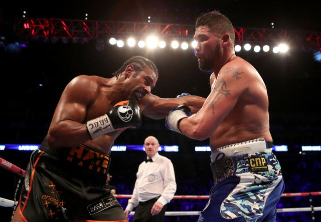 David Haye and Tony Bellew battle it out again at the O2 Arena in London next Saturday