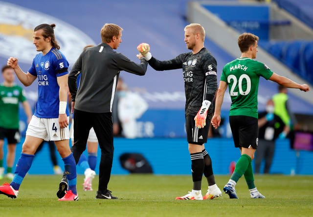 Brighton & Hove Albion manager Graham Potter watched his team extend their unbeaten run to three games at Leicester