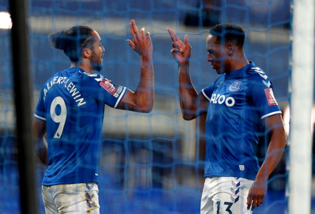 Everton's Dominic Calvert-Lewin (left) celebrates his goal
