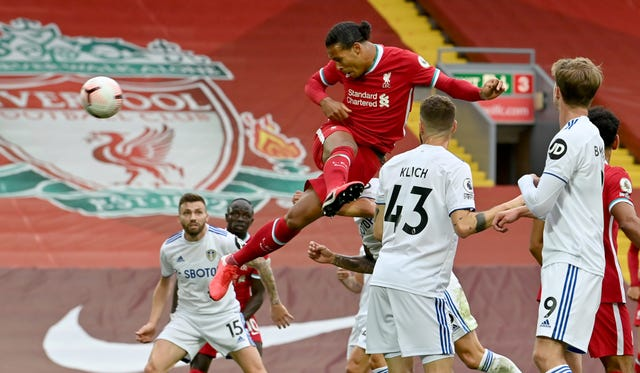 Virgil van Dijk's towering first-half header put Liverpool 2-1 ahead against Leeds