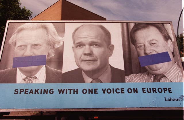 Labour's 1999 European elections poster  poster featured then-leader William Hague alongside Michael Hessaltine and Ken Clarke (Michael Stephens/PA)