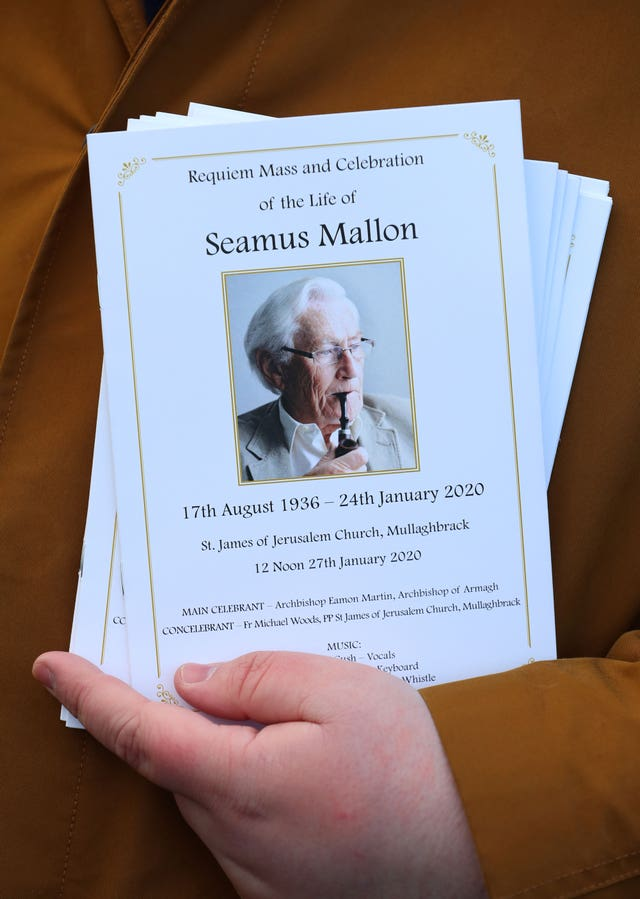 The Order of Service for the funeral of Seamus Mallon, the former deputy first minister of Northern Ireland, at Saint James of Jerusalem Church in Mullaghbrack, Co Armagh