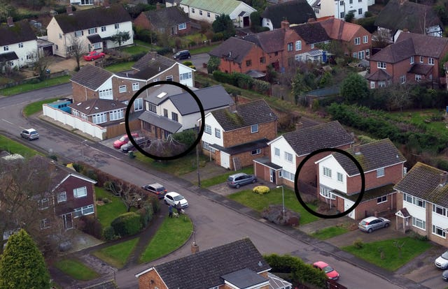 An aerial view of Manor Park in Maids Moreton, Buckinghamshire, of the former homes of Peter Farquhar, left, and Ann Moore-Martin, right