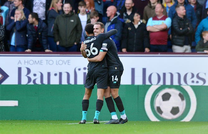 Liverpool went ahead when Trent Alexander-Arnold's cross deflected in off Chris Wood