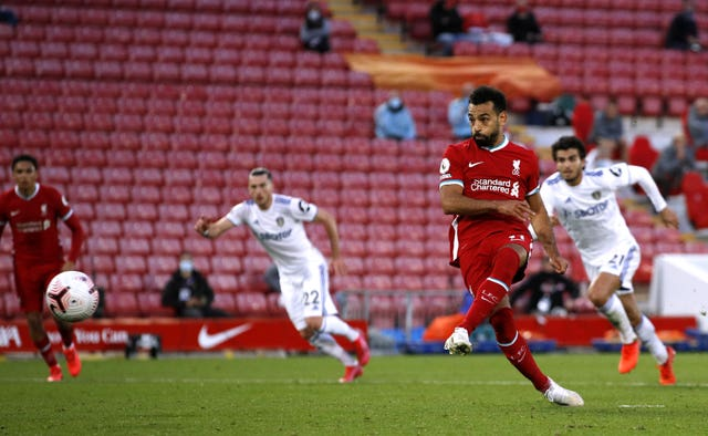 Mohamed Salah scores a penalty against Leeds