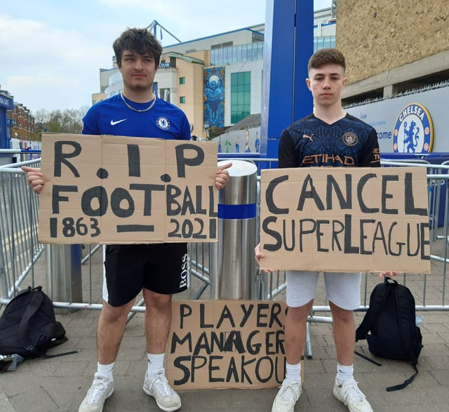 Fans protested against the European Super League last month