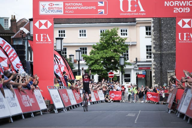 Ben Swift wins the Men's Elite Race at the British Cycling National Championships Road Race