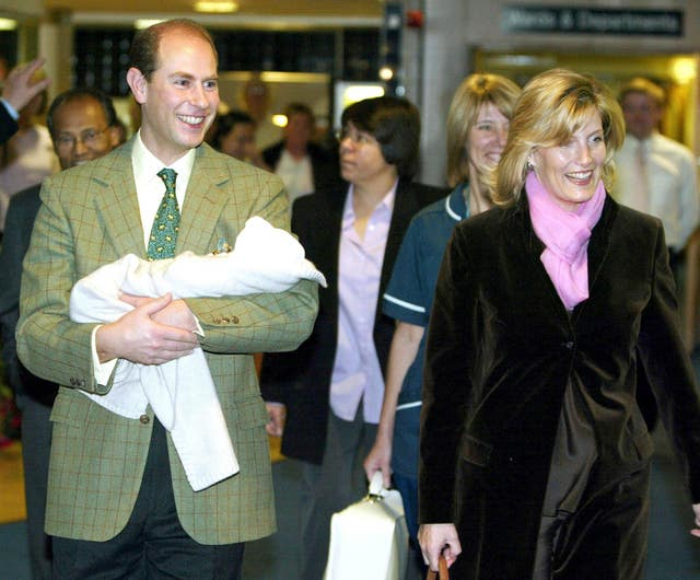 The Earl and Countess of Wessex with their baby