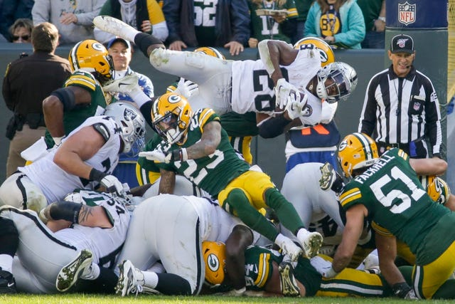 Actions from Raiders v Packers