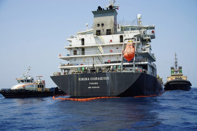 The damaged Japanese owned oil tanker Kokuka Courageous