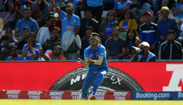 India's Yuzvendra Chahal catches Afghanistan's Rahmat Shah