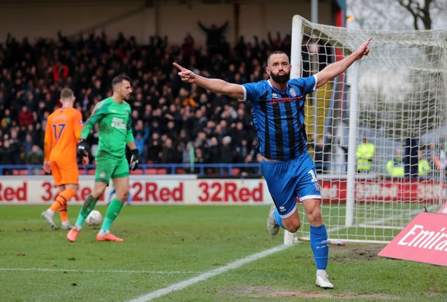 Aaron Wilbraham celebrates his equaliser for Rochdale against Newcastle