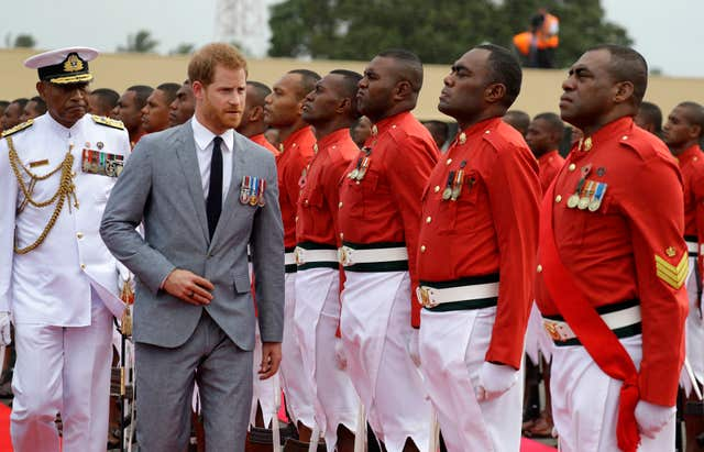 Harry inspects the guard of honour