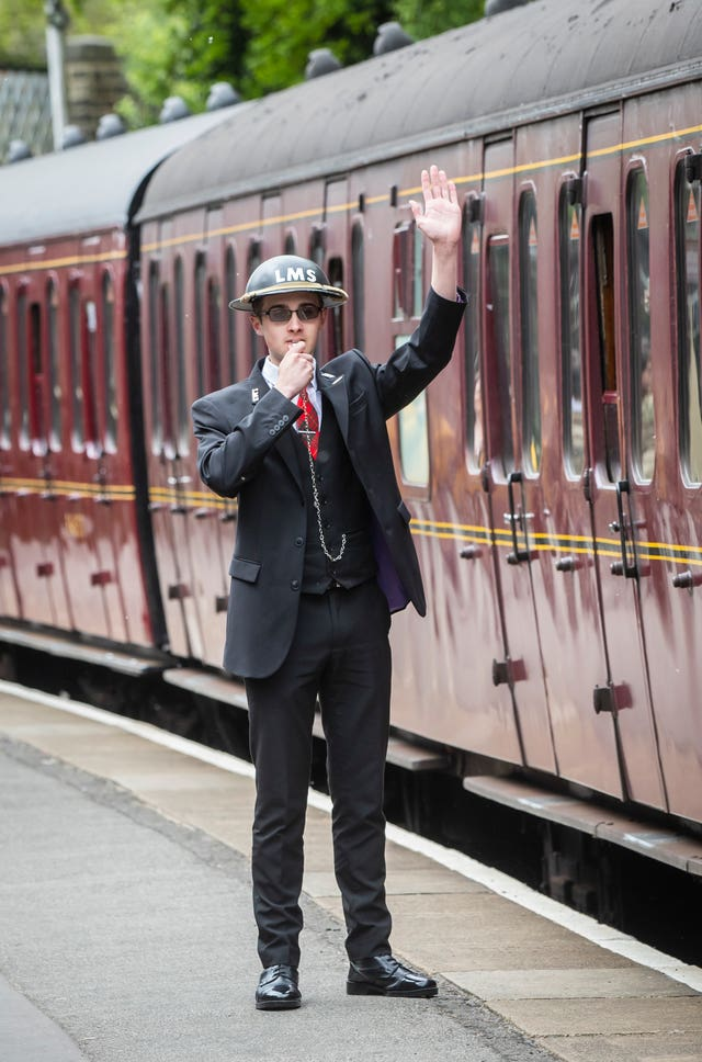 A train guard at Haworth train station during the Haworth 40s weekend