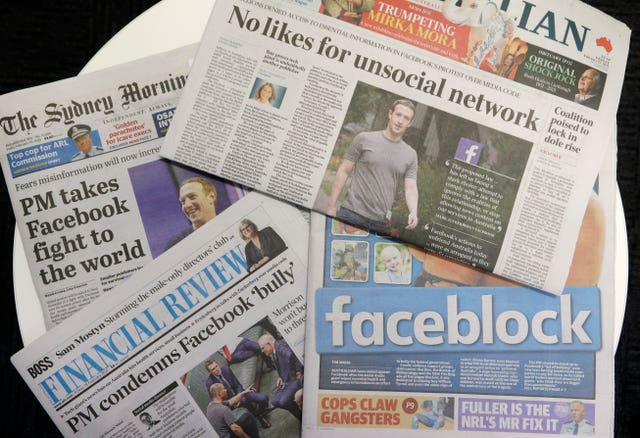 Front pages of Australian newspapers are displayed following Facebook's original decision