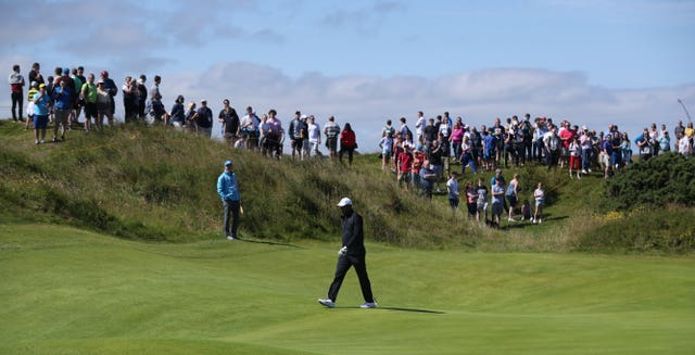 Tiger Woods played a practice round at Royal Portrush on Sunday ahead of the Open Championship