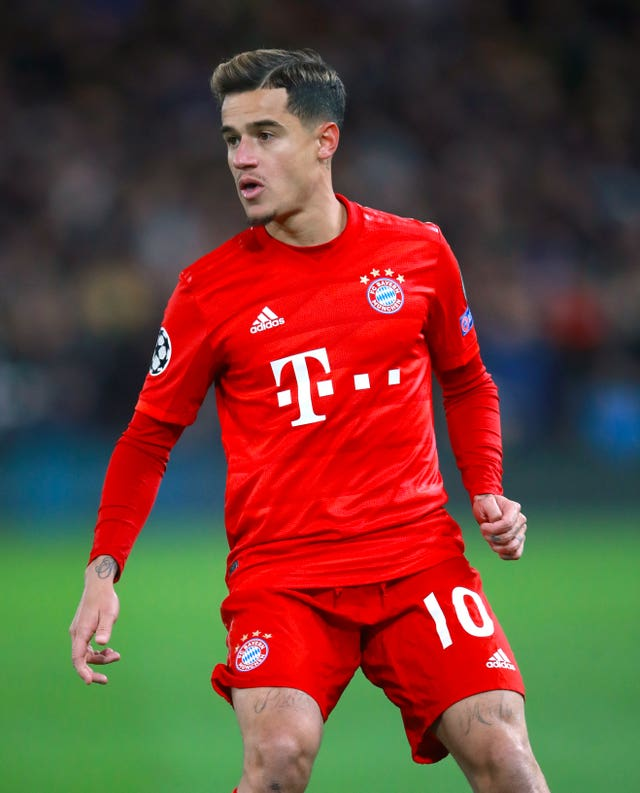 Bayern Munich's Philippe Coutinho is sidelined with an ankle injury