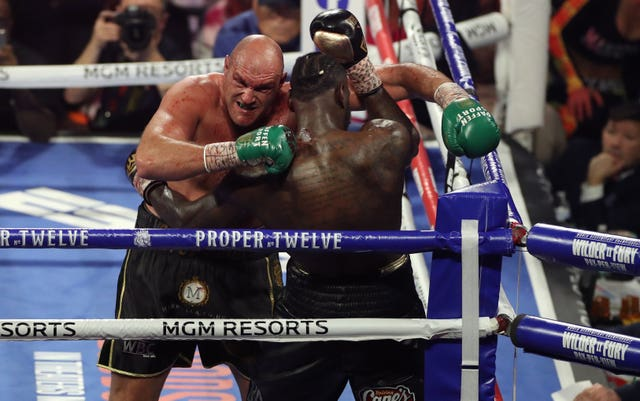 Tyson Fury stopped Deontay Wilder in the seventh round with a devastating display at the MGM Grand on Saturday (Bradley Collyer/PA)