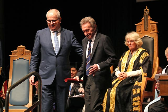 Denis Law receiving honorary degree