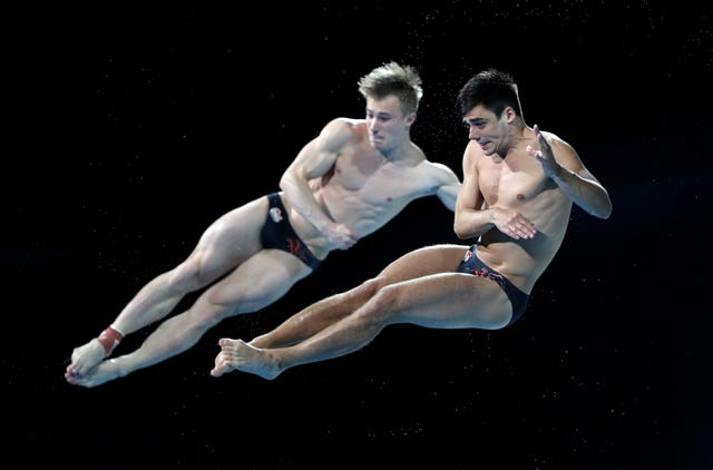 Jack Laugher, left, and Chris Mears claimed gold in the synchronised 3m springboard event