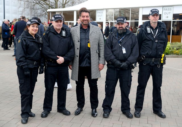 Nick Knowles and police officers