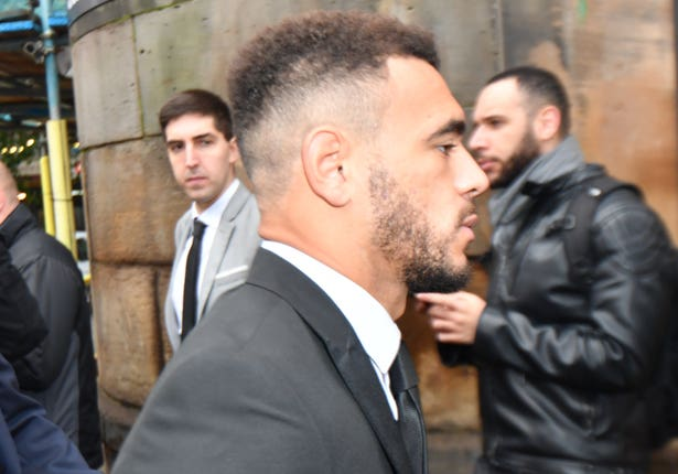 Derby County footballer Mason Bennett (closest to camera) arrives at Derby Magistrates' Court (Jacob King/PA)