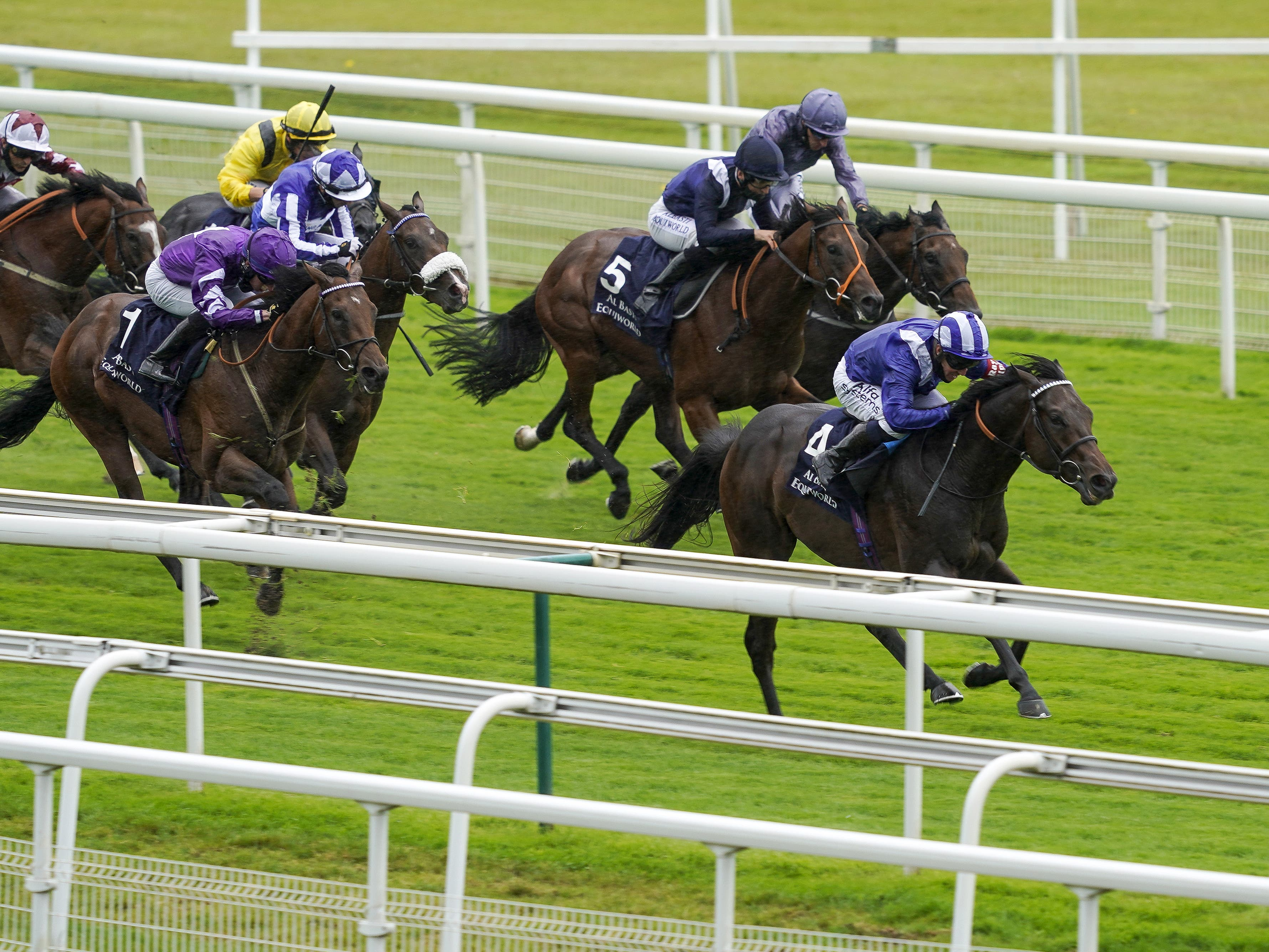 Gimcrack winner Minzaal (right) is sidelined with a leg injury (Alan Crowhurst/PA)
