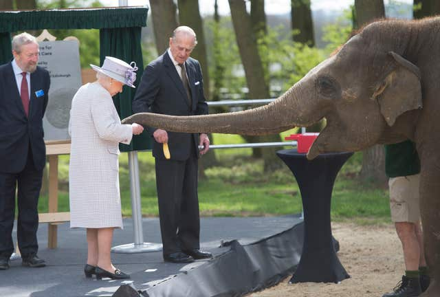 Queen Elizabeth II feeds Donner the elephant at ZSL Whipsnade Zoo (David Rose/The Daily Telegraph/PA)