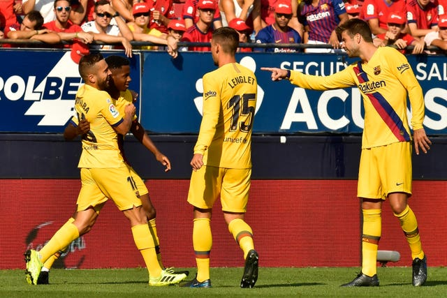Ansu Fati, second left, scored his first Barcelona goal at Osasuna