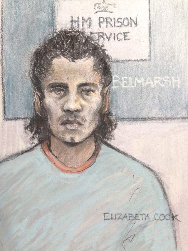 Court sketch of Ahmed Hassan (Elizabeth Cook/PA)