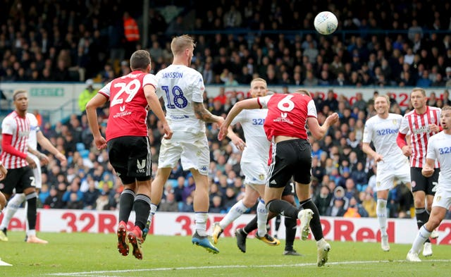 Pontus Jansson scores for Leeds against Brentford in October 2018