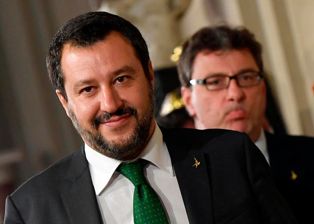 Matteo Salvini, left, addresses the media following a meeting with Italy's president (Ettore Ferrari/Ansa/AP)