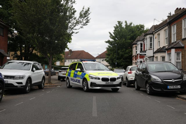 A police cordon in Energen Close in Harlesden after a shooting on Wednesday evening