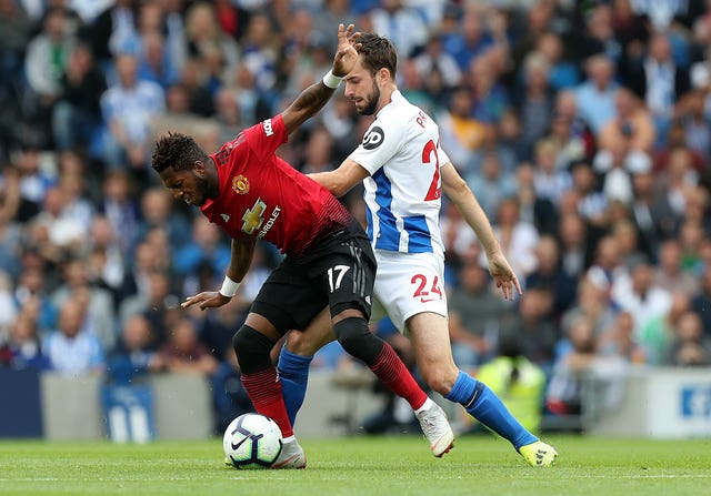 Fred (left) played the full duration against Brighton (Gareth Fuller/PA)
