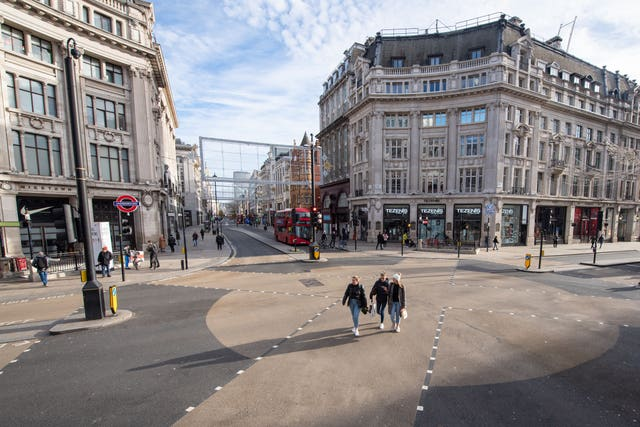 A largely empty Oxford Circus in London, as most shops and businesses remain closed while England continues a four-week national lockdown (Dominic Lipinski/PA)