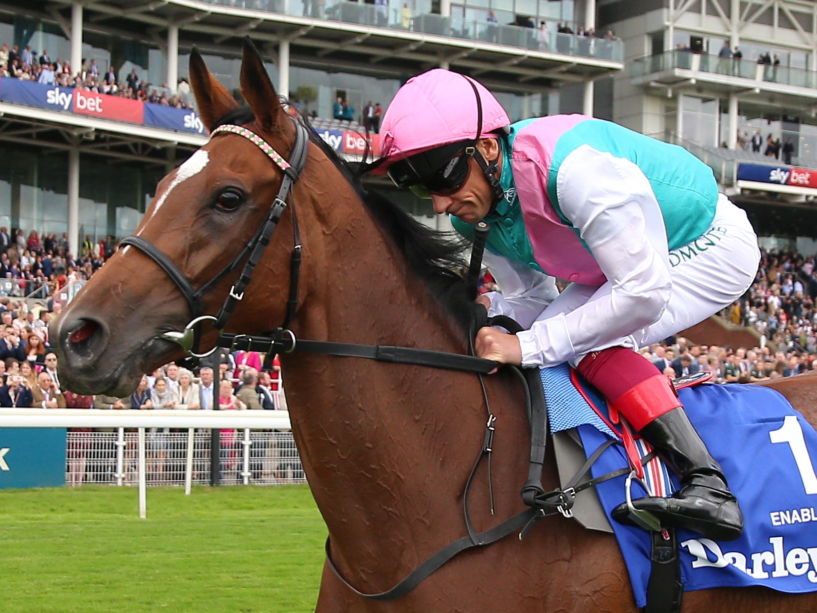 Enable and Frankie Dettori win the Darley Yorkshire Oaks – the mare's 13th career win (Nigel French/PA)
